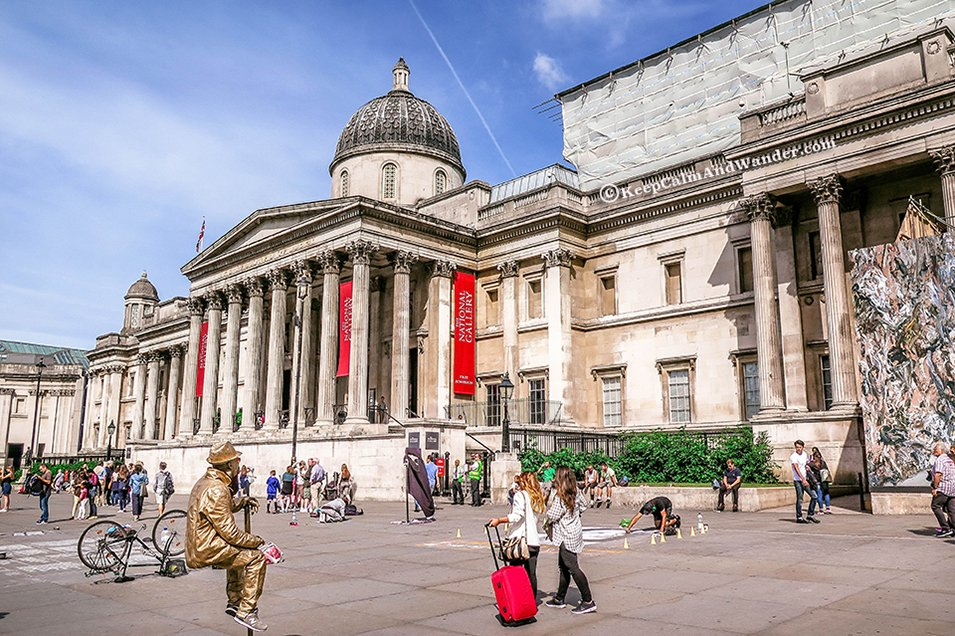 National Gallery London is in front of Trafalgar Square.