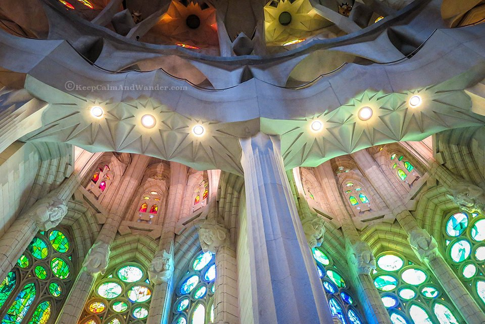 There's a Rainbow Inside the Sagrada Familia (Barcelona, Spain).