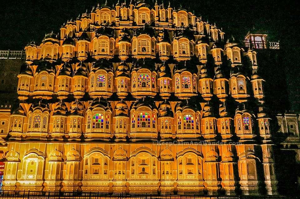 Hawa Mahal at Night (Jaipur, Rajasthan, India)