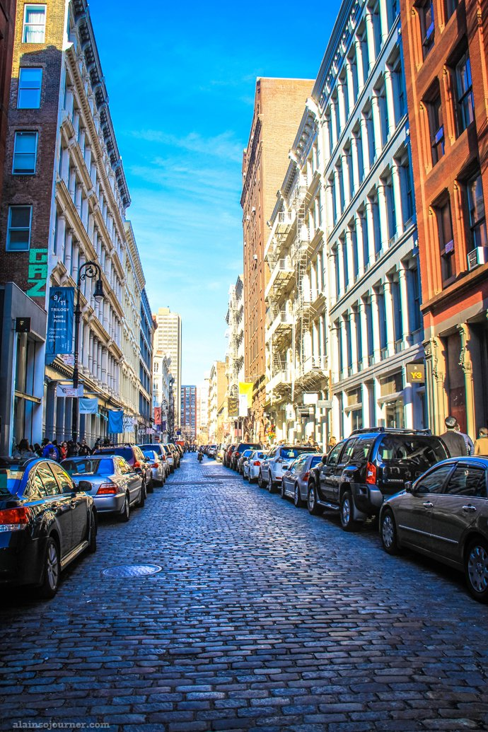 Cobblestoned street in Soho, New York.