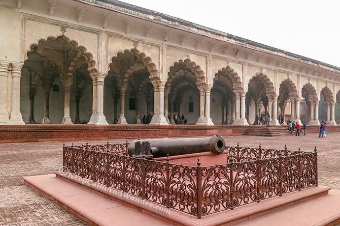 The British canon inside Agra Fort.