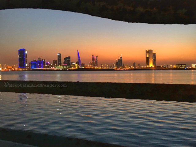 Bahrain cityscape after sunset