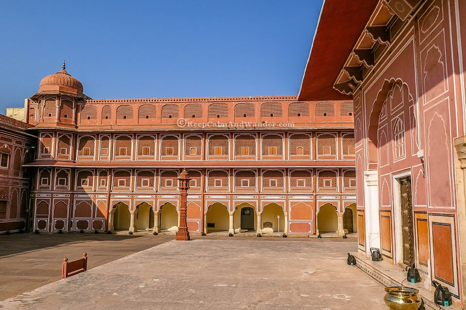 Courtyards, Palaces and gardens at the City Palace (Jaipur, India).