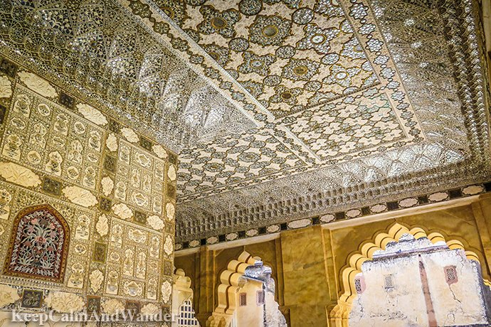 SheeshMahal - The Flickering Palace of Mirrors in Jaipur (India).