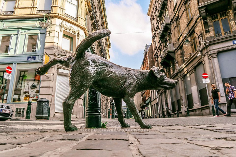 These Peeing Statues Are Tourist Attractions in Brussels (Zinneke Pis / Peeing Dog Statue).