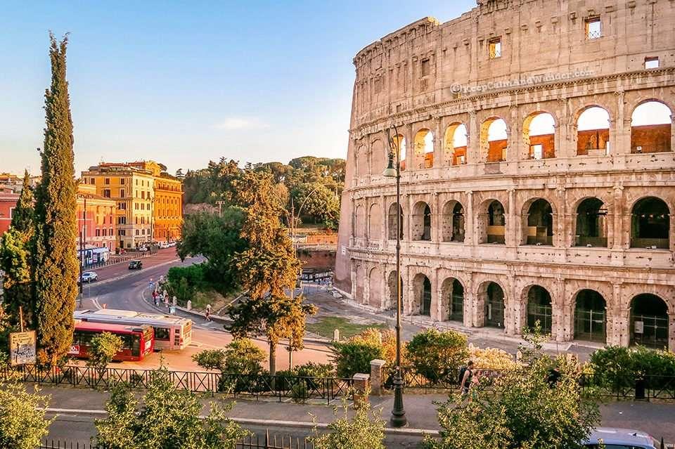The Beauty of the Roman Colosseum Facade (Rome, Italy).