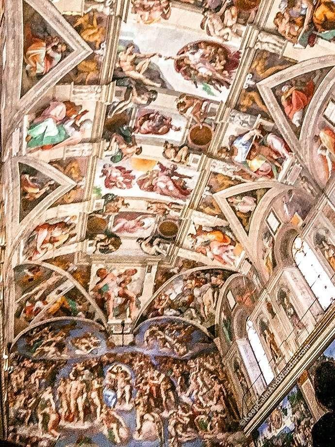 Inside Sistine Chapel - The Frescoes of Michelangelo (Vatican, Rome, Italy).