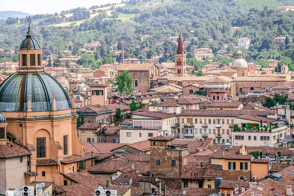 View from the top of San Pietro Tower in Bologna (Italy).
