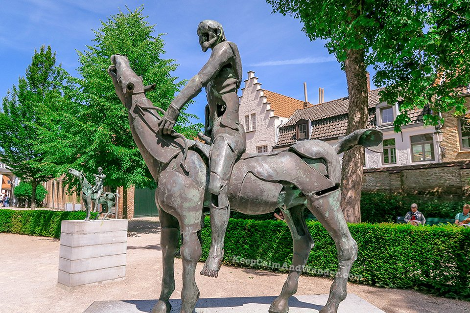 Statues of the Four Horsemen of the Apocalypse / I Spent a Day in Bruges and I did My Own Walking Tour (Belgium).