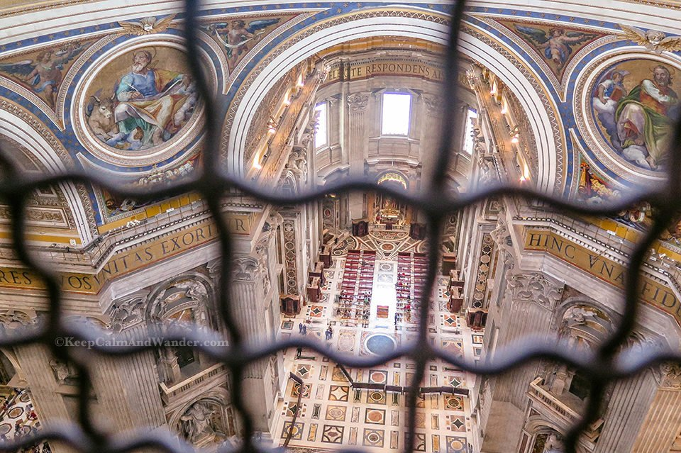 Climbing the Dome of St Peter Basilica and The View From The Interior Balcony. Italy