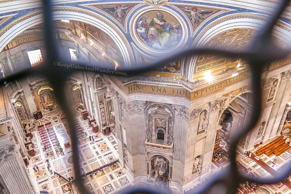 Climbing the Dome of St Peter Basilica and The View From The Interior Balcony.