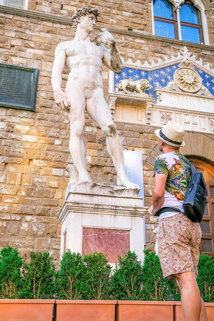 The Amazing Statues Outside Palazzo Vecchio in Florence (Statue of David). Italy