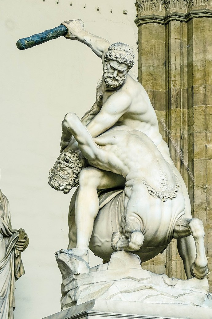 Italy The Amazing Statues Outside Palazzo Vecchio in Florence (Hercules Beating Centaur Nessus by Pietro Francavilla).