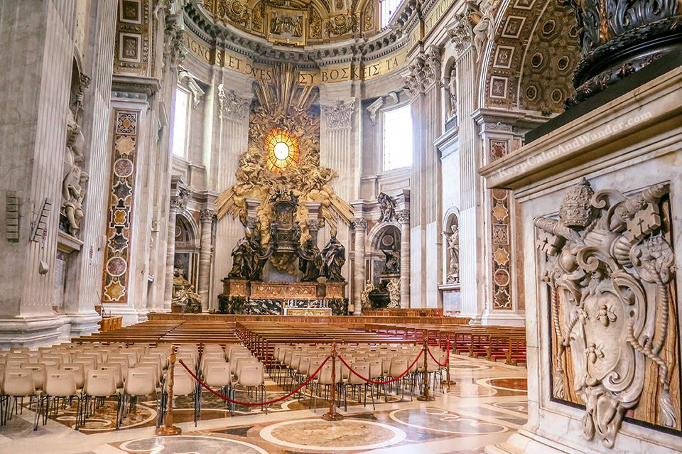 Inside St Peter's Basilica in the Vatican (Rome, Italy).