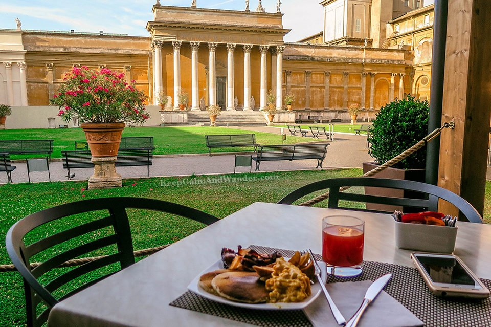 Breakfast at the vatican Museum (Rome, Italy).