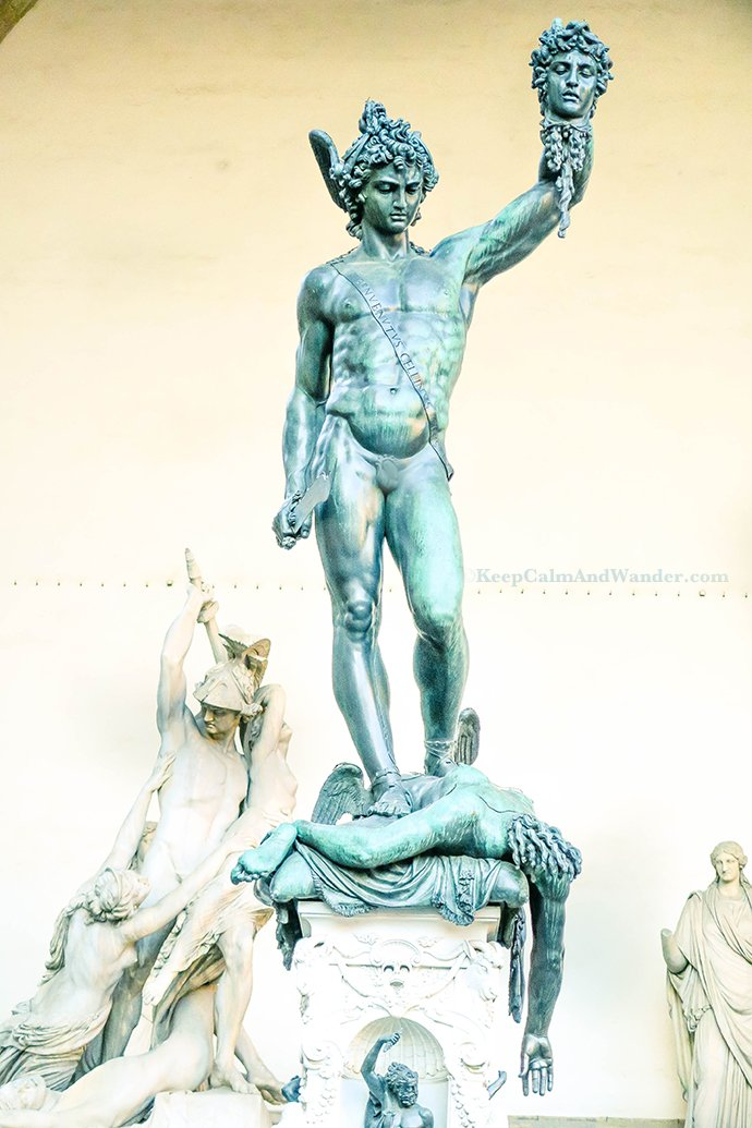 Italy The Amazing Statues Outside Palazzo Vecchio in Florence (Perseus Holding the Head of Medusa).