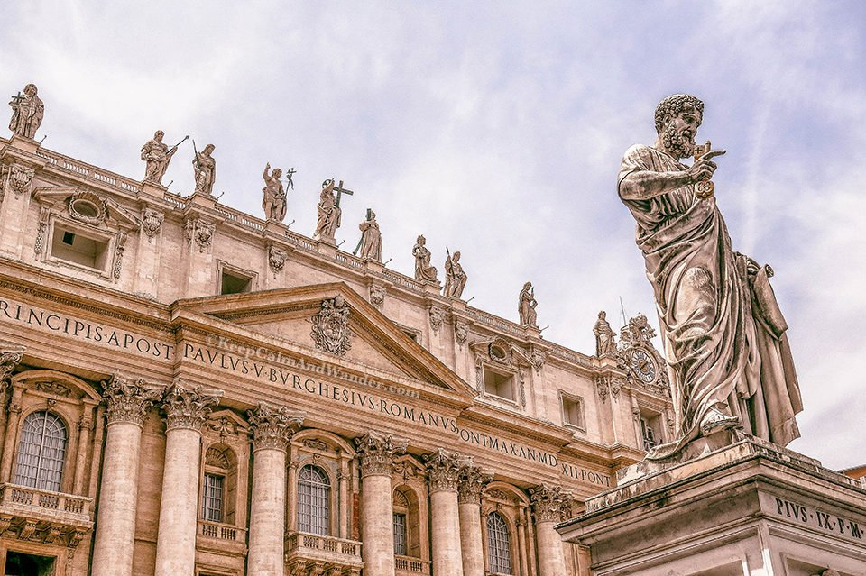 St Peter's Square and St Peter's Basilica - The World's Largest Church (Italy). Vatican Rome
