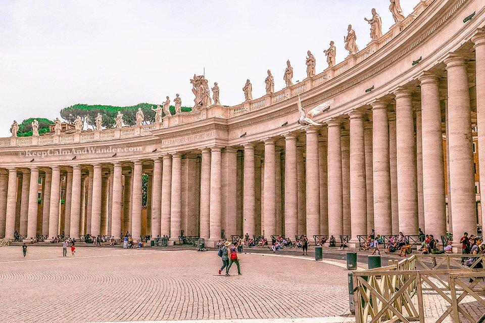 St Peter Square and St Peter Basilica - The World's Largest Church (Italy). Rome Vatican