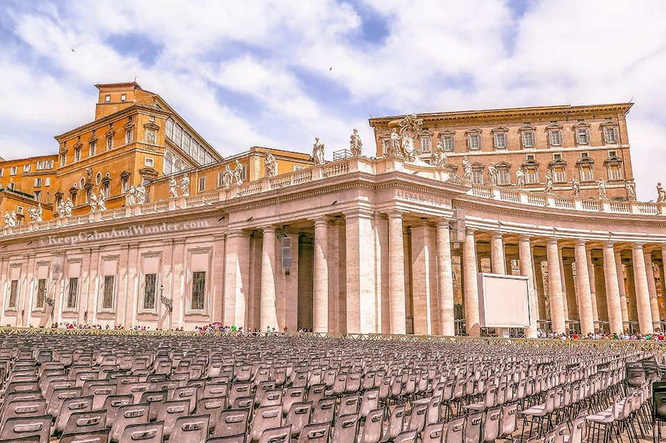 St Peter Square and St Peter Basilica - The World's Largest Church (Italy). Vatican Rome