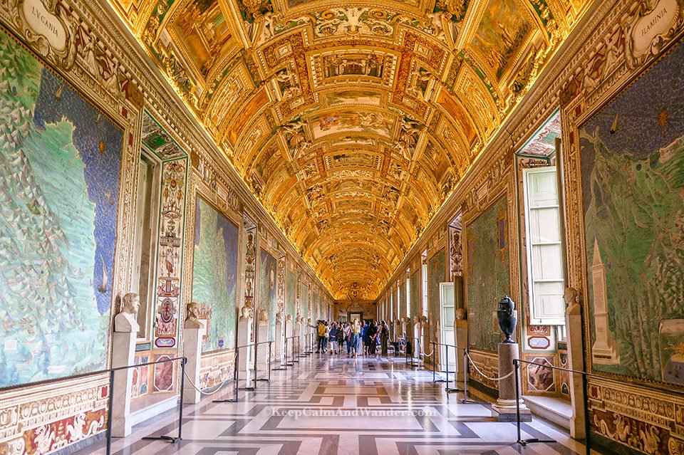 Inside the Spectacular Vatican Museum (Rome, Italy). Hall of Maps