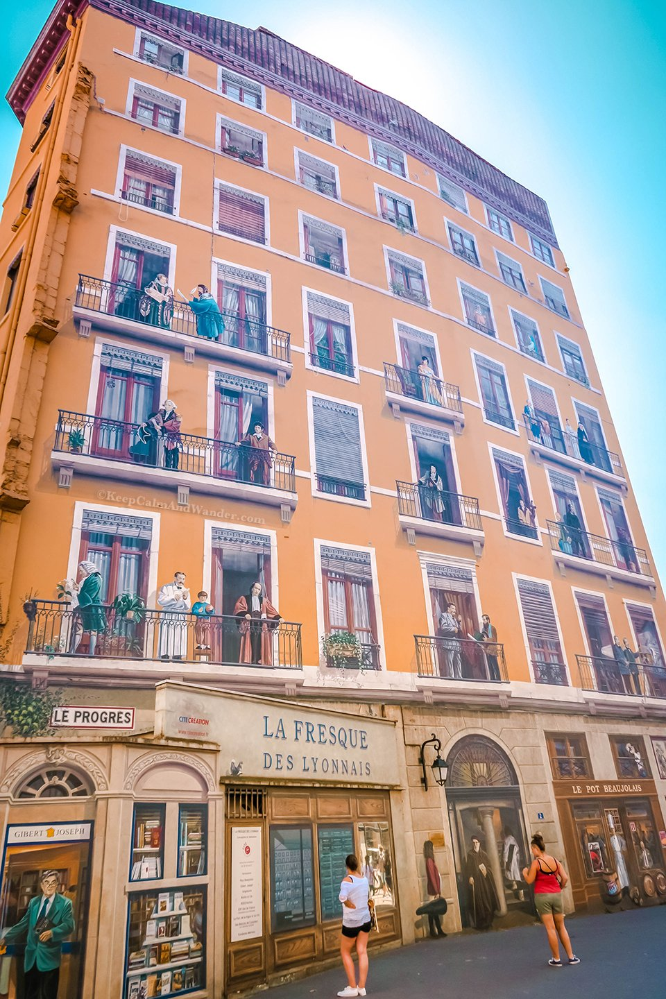 This Building is Coated with Mural Paintings of Famous People From Lyon (France).
