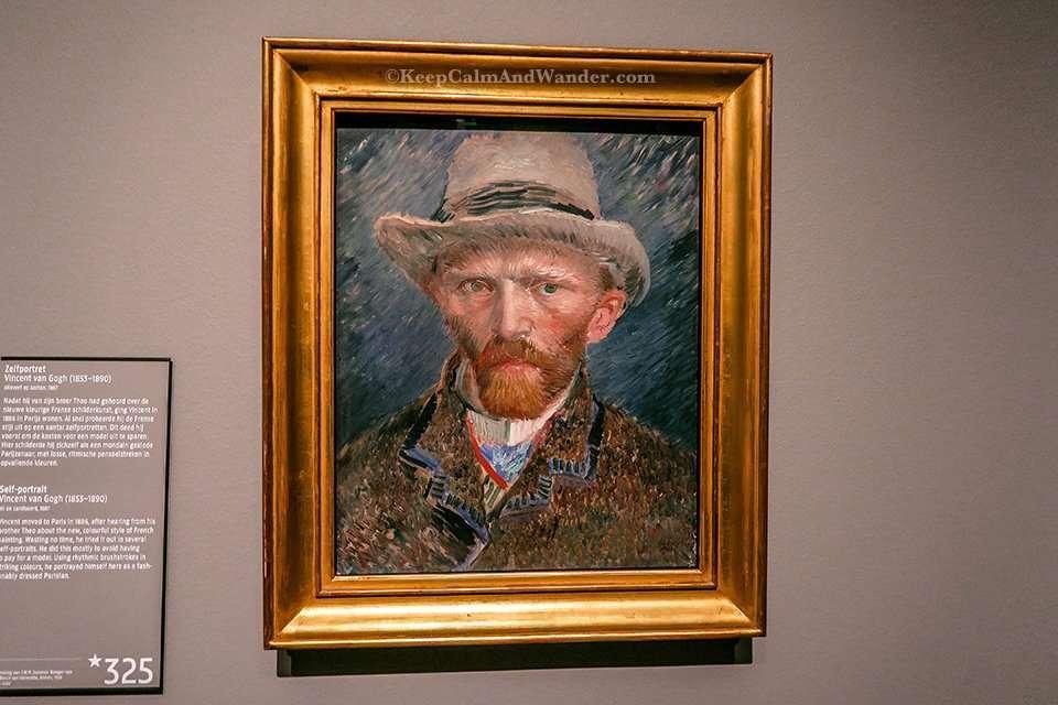 Self Portrait by Vincent Van Gogh inside Rijksmuseum in Amsterdam (Netherlands).