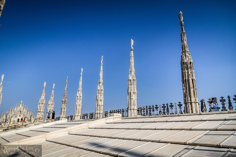 Skyline Views from the Top of Milan Cathedral / Duomo (Italy).