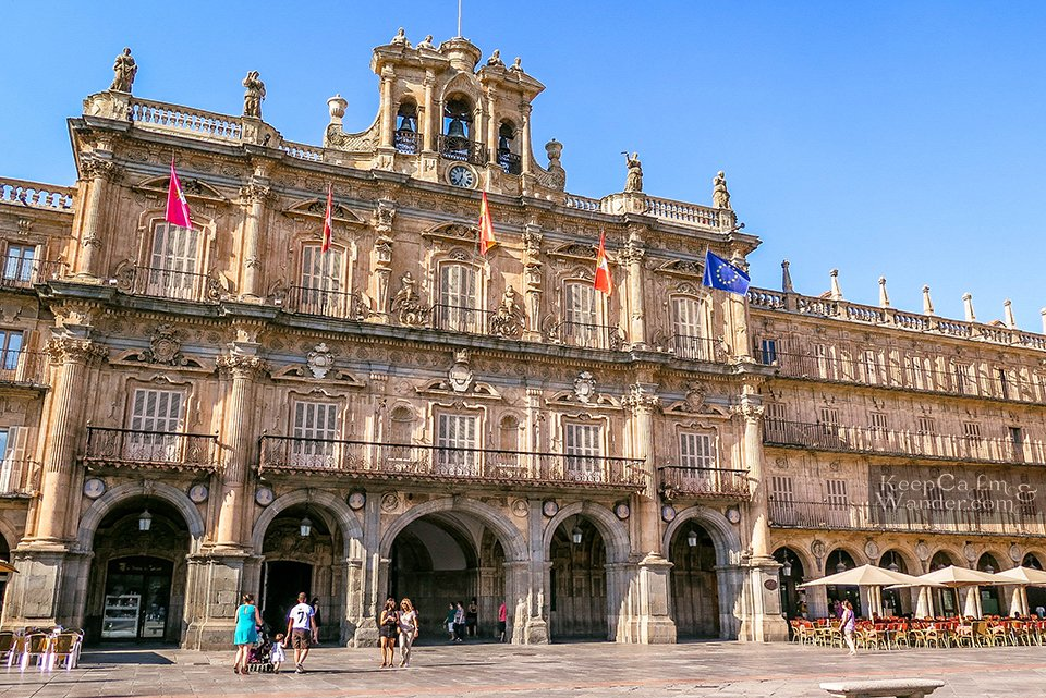 The City Hall of Salamanca at Plaza Mayor (Spain).
