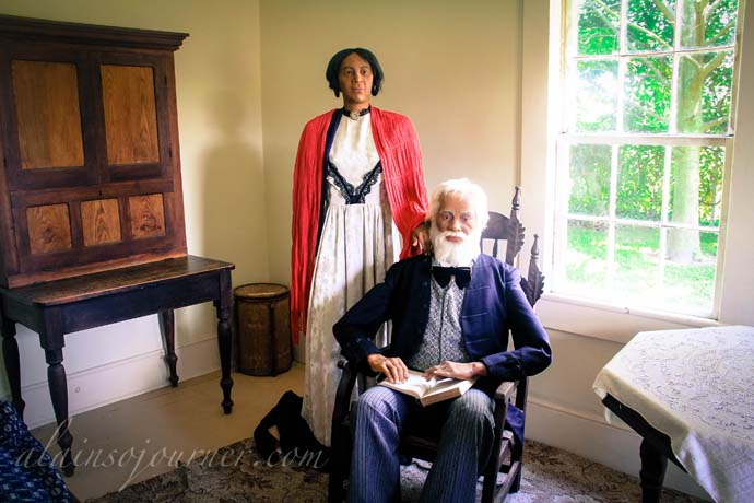 Life-size wax figure of Josiah Henson and his wife.