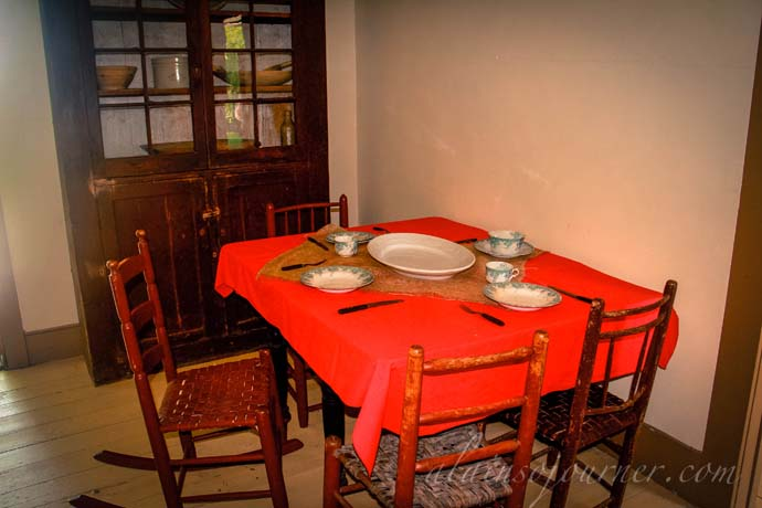 The kitchen table inside Uncle Tom's Cabin