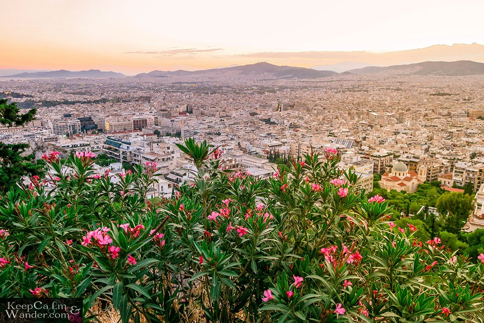 Travel Blog City Skyline: The View of Athens from Mt Lycabettus (Athens, Greece).