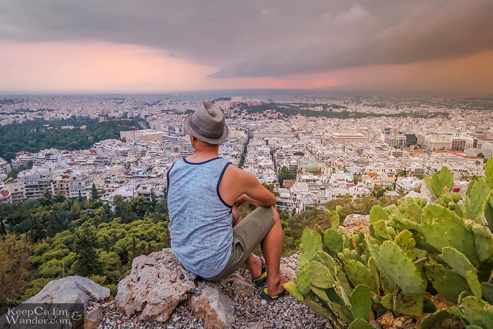 City Skyline: The View of Athens from Mt Lycabettus (Athens, Greece).