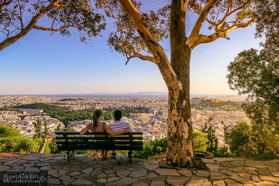 City Skyline: The Views of Athens from Mt Lycabettus (Athens, Greece). Travel Blog Photos