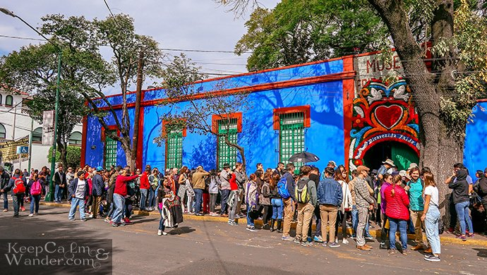 Inside the Blue House of Frida Kahlo in Mexico City.