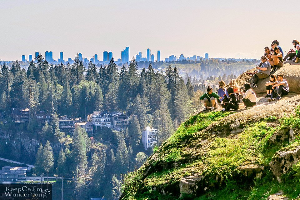 Vancouver skyline from the top of Quarry Rock in Deep Cove.