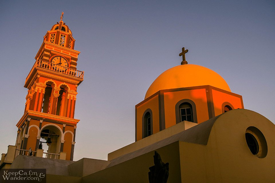 The white domes in Fira turn gold when the sun sets.