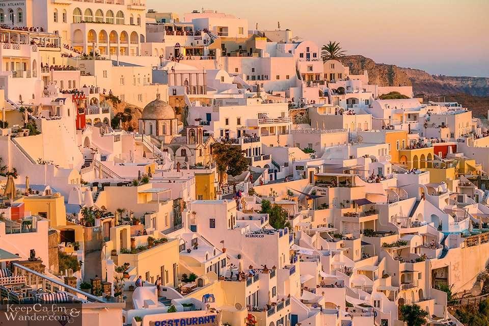 Santorini Fira Sunset Greece Travel Hostel Hotel Backpacker