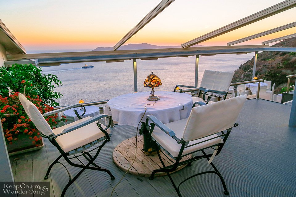 Most hotels or AirBnB accommodation in Fira have their own private patios for viewing sunsets.