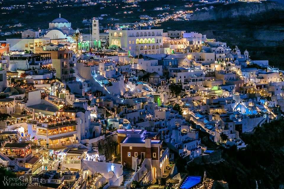 Fira Santorini at Night is Mesmerizing (Greece).