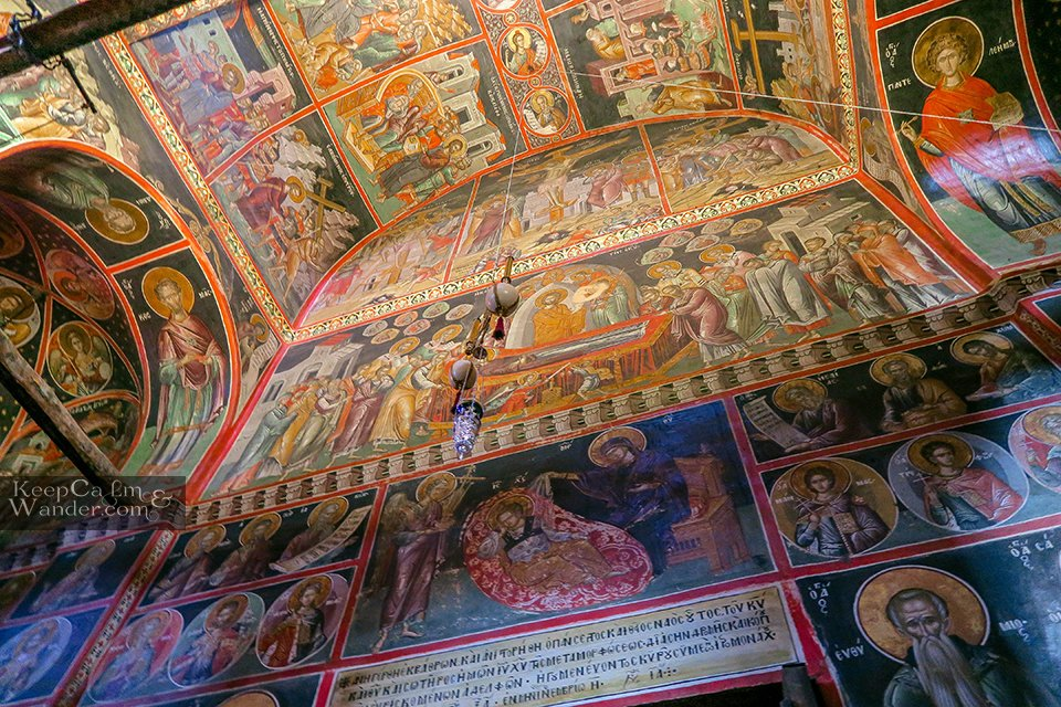 The religious frescoes inside the Grand Monastery (Meteora, Greece).