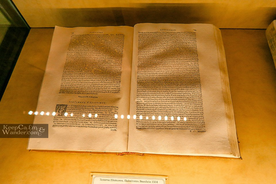 An ancient manuscript at the museum inside travel  (Meteora, Greece).