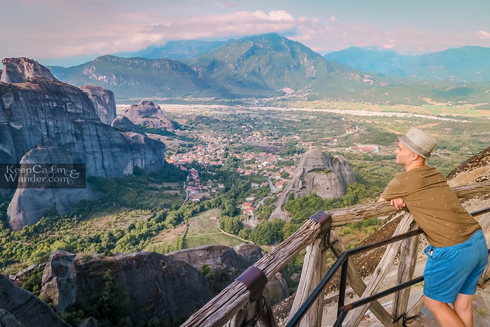 The breathtaking and gratifying view of the valley below (Meteora, Greece).