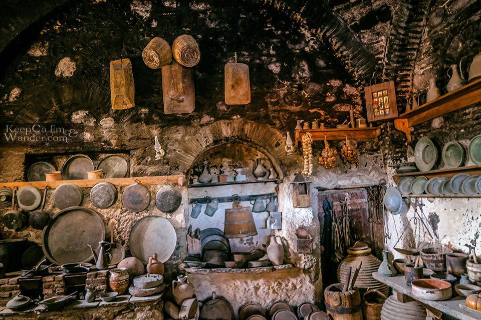 The blackened kitchen inside the monastery (Meteora, Greece).