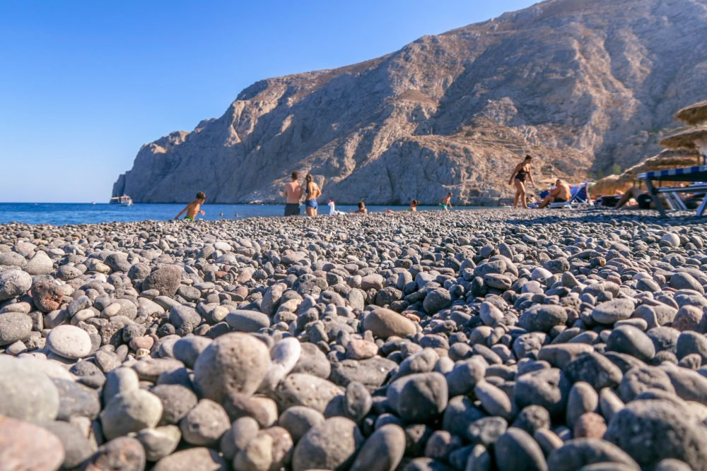 Kamari Black Beach in Santorini, Greece