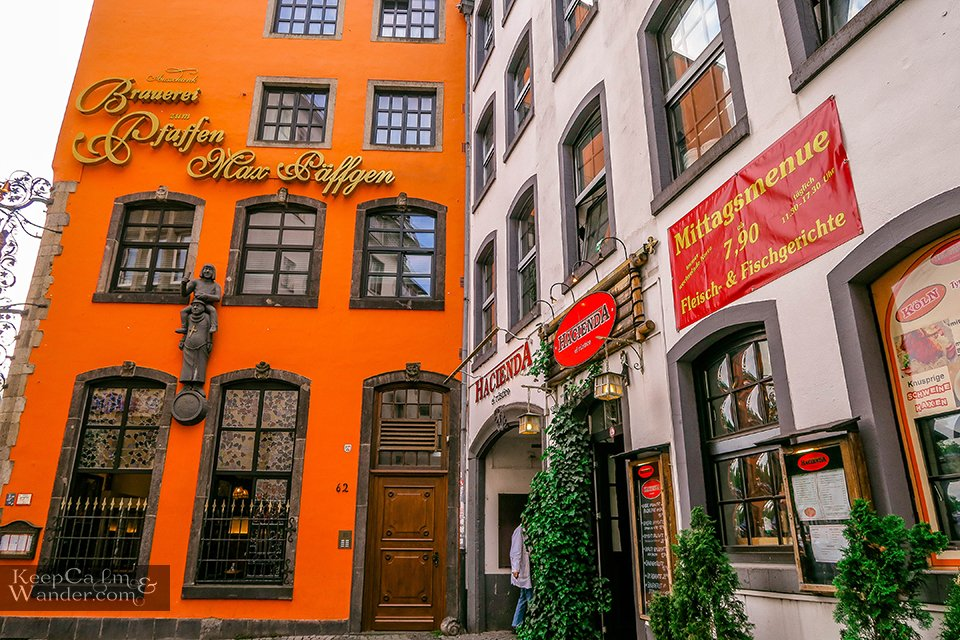Colourful houses in Koln Hotel Hostel