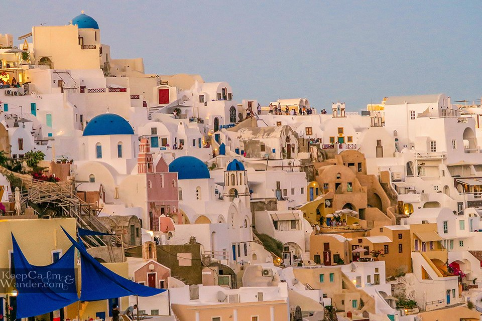 white houses blue domes in Santorini Travel Blog Hotel in Santorini