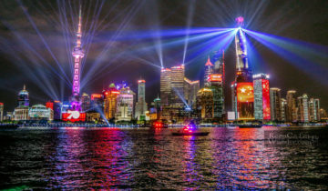 Lights and sounds show Shanghai the bund skyline