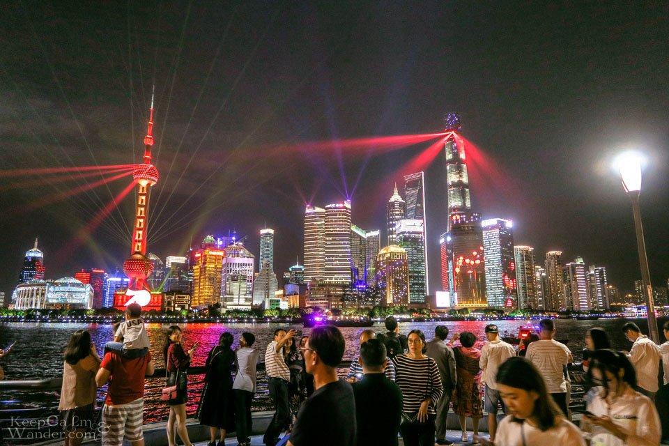 Lights and Sounds show The Bund Shanghai night