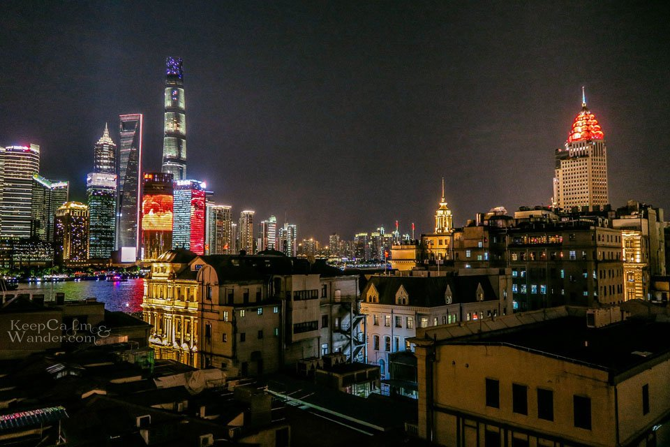 Captain Hostel rooftop Shanghai skyline view