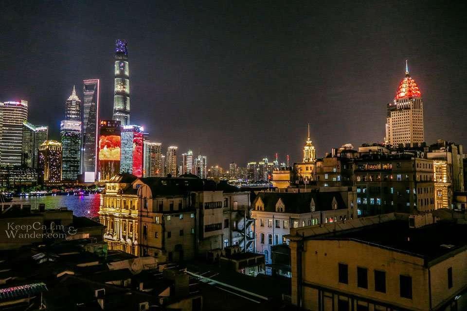 Captain Hostel rooftop Shanghai skyline view